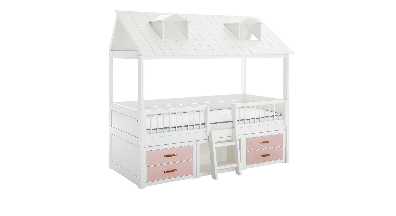 LIFETIME Kojenbett Beachhouse mit rosa lasierten Schubladen
