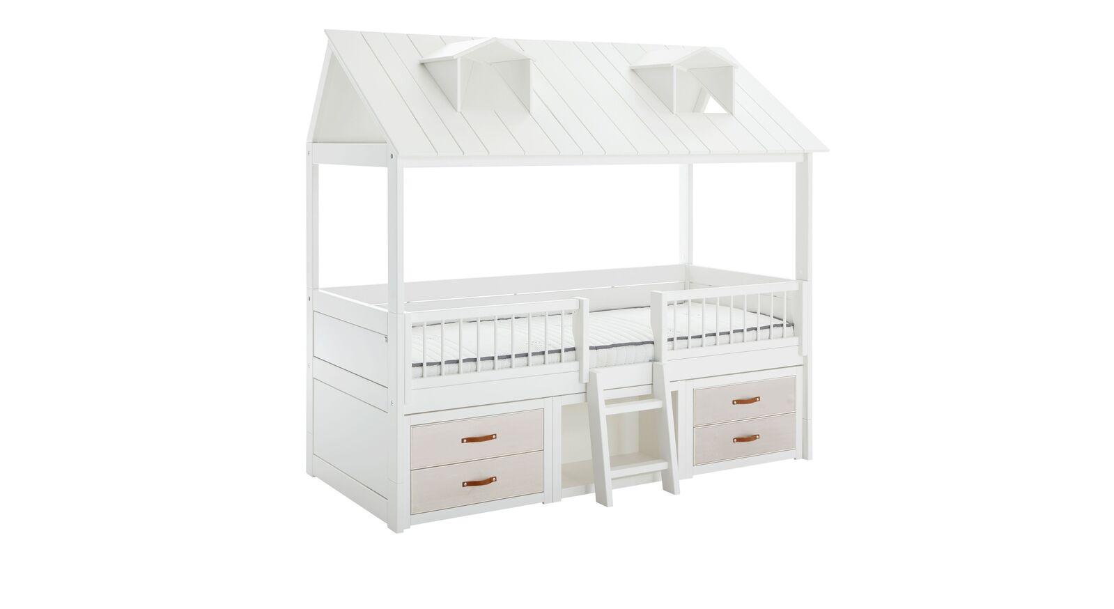 LIFETIME Kojenbett Beachhouse mit weiß lasierten Schubladen