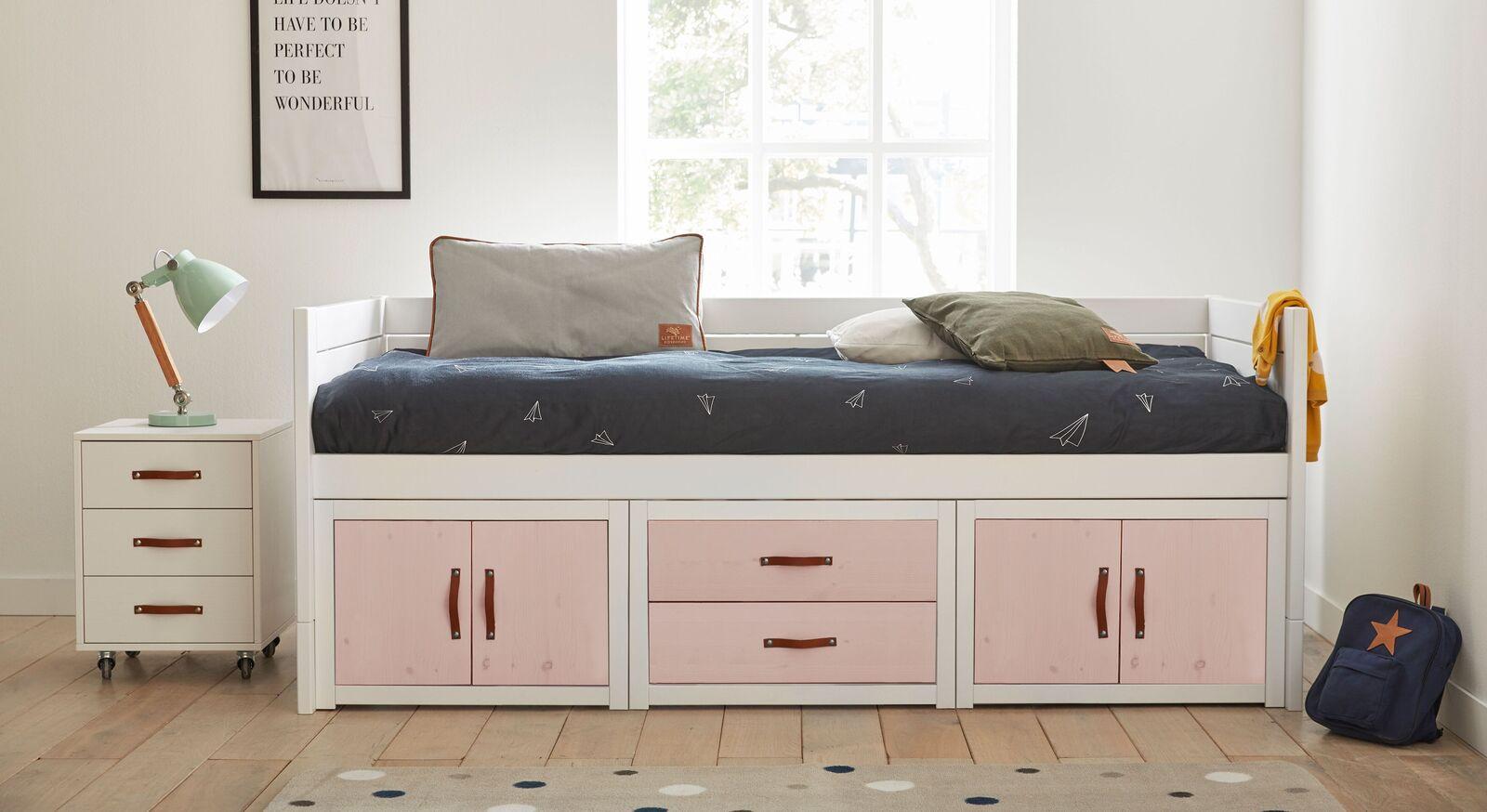 LIFETIME Kojenbett Original mit rosanen Fronten