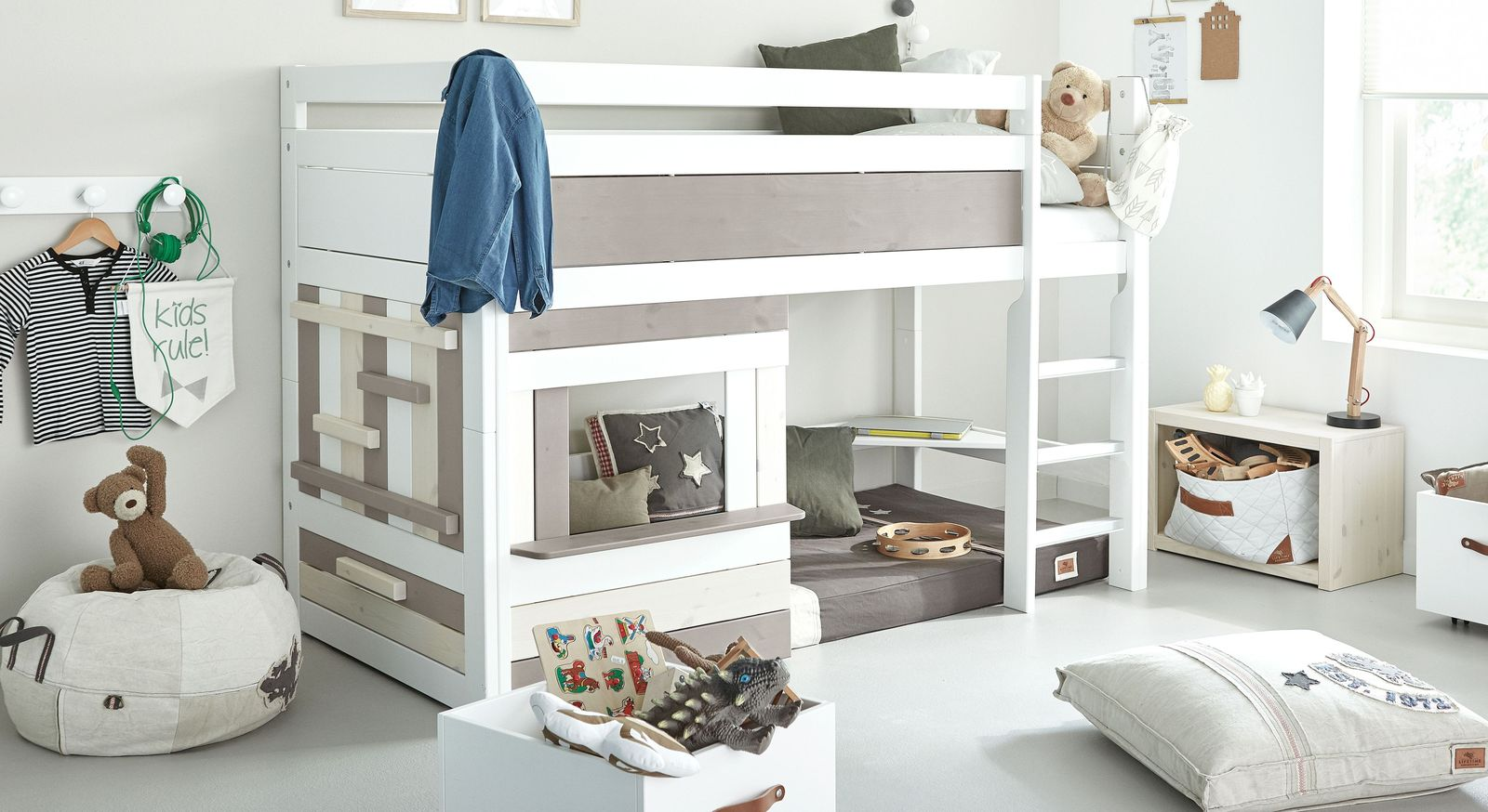 LIFETIME Midi-Hochbett Holzhütte mit gerader Leiter