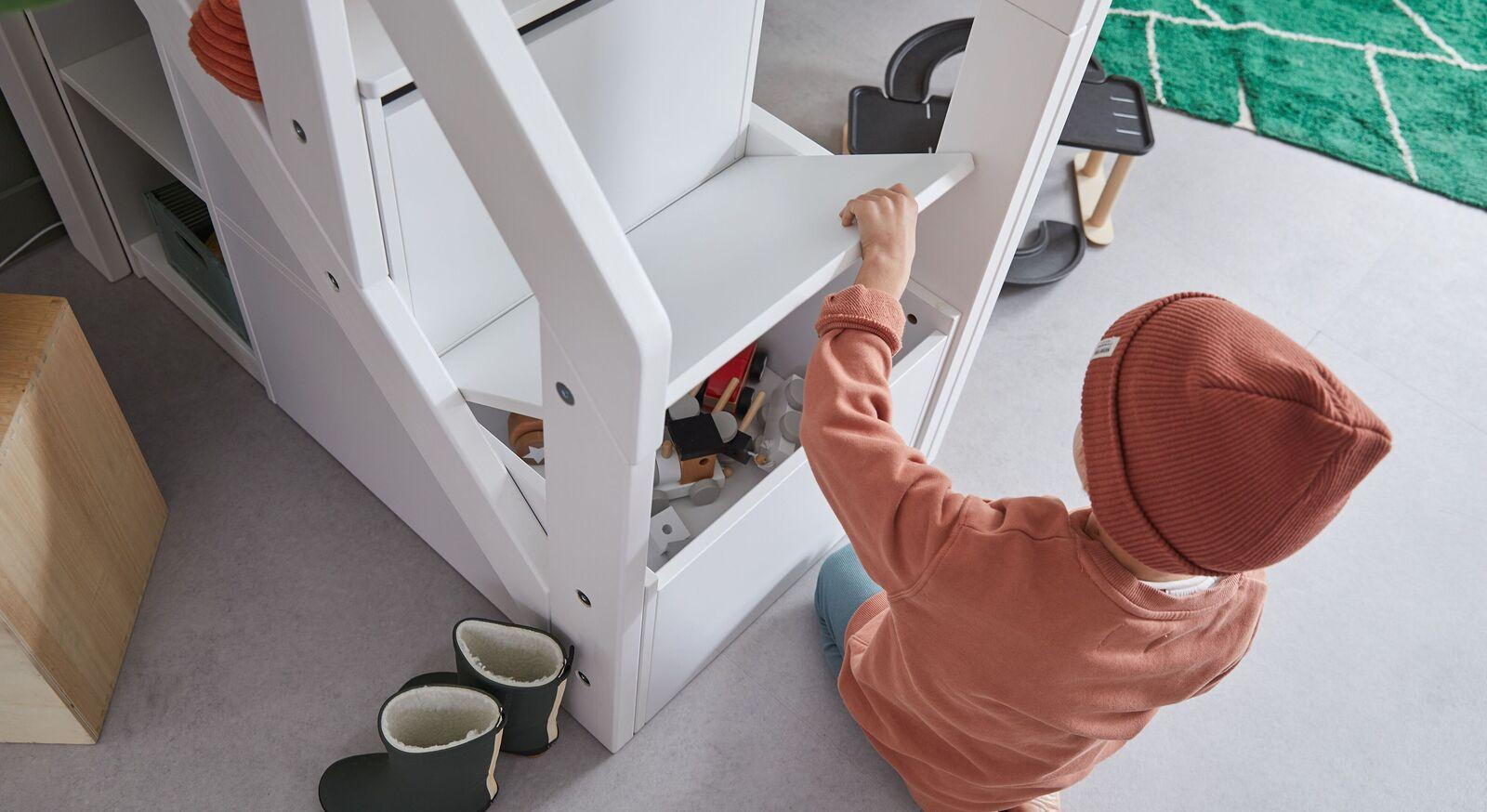 LIFETIME Midi-Hochbett Original mit Treppenmodul und integriertem Stauraum