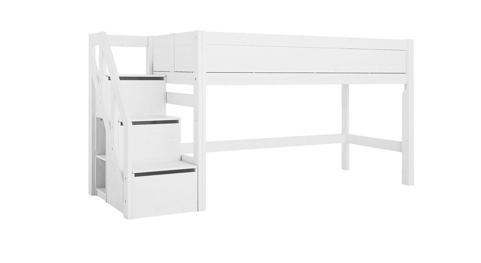 LIFETIME Midi-Hochbett Original mit Treppenmodul in Weiß lackiert