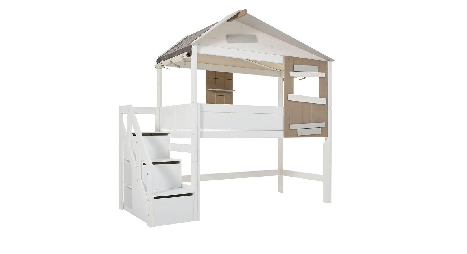 LIFETIME Midi-Hüttenbett Hideout mit Treppenmodul in Weiß lackiert