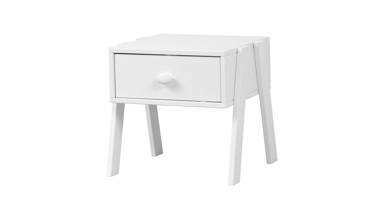 Weiß lackierter LIFETIME Nachttisch Original mit Holzgriff