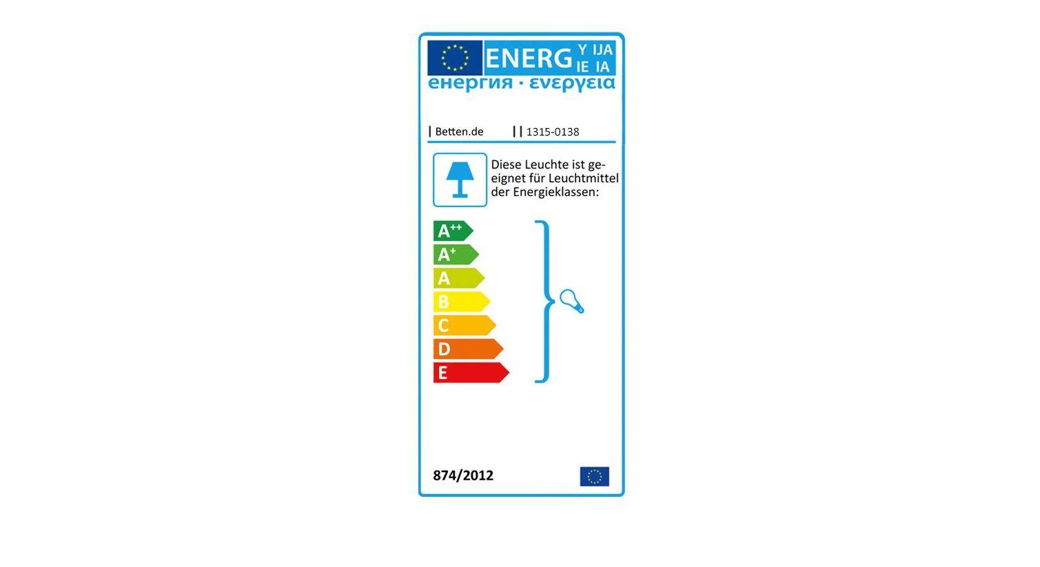 Energielabel zur LIFETIME Nachttischlampe