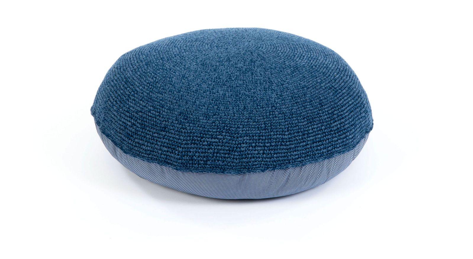 Gehäkeltes LIFETIME Sitzkissen Original in Blau