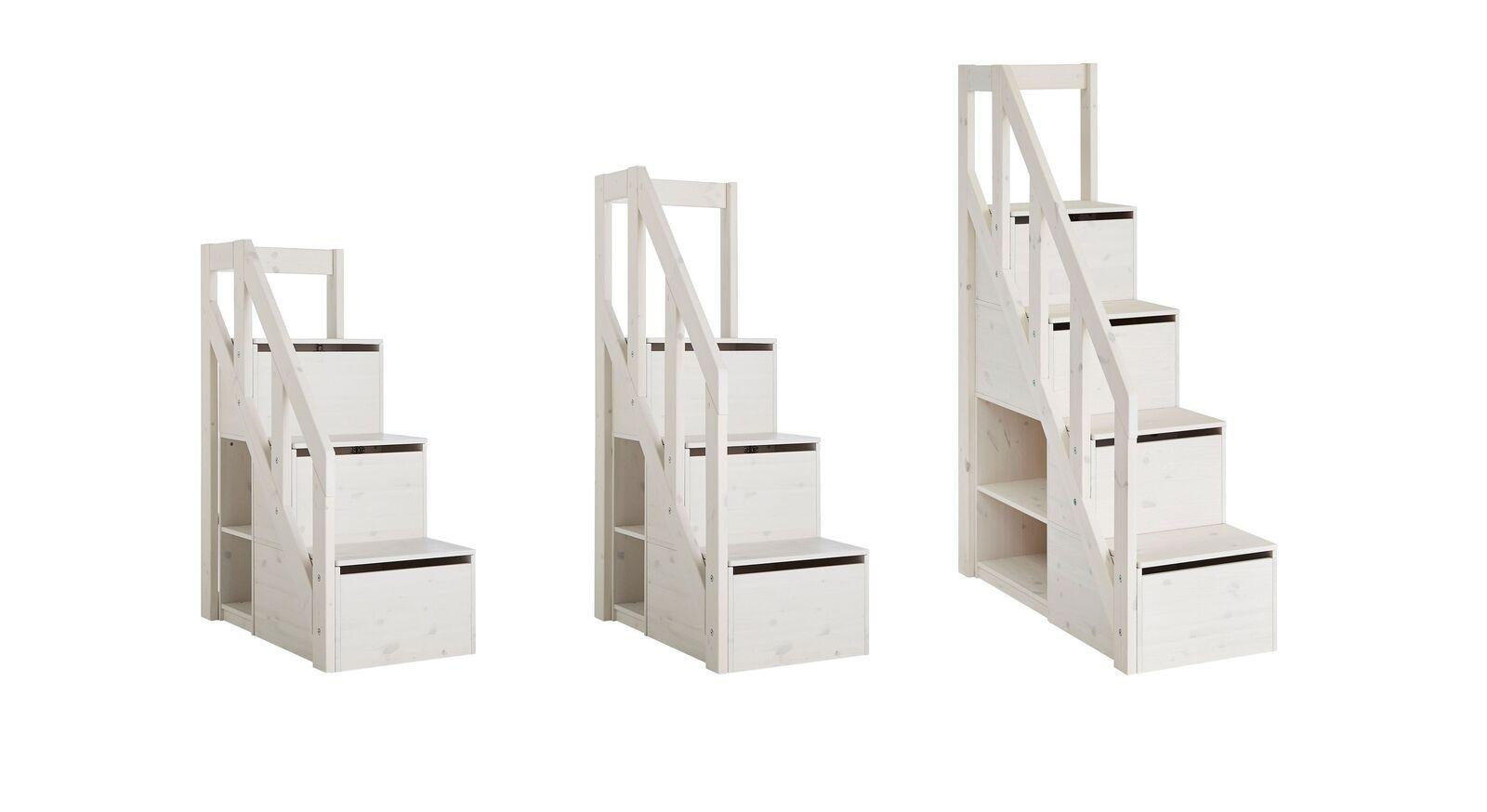 Größen-Übersicht des LIFETIME Treppenmoduls mit Stauraum
