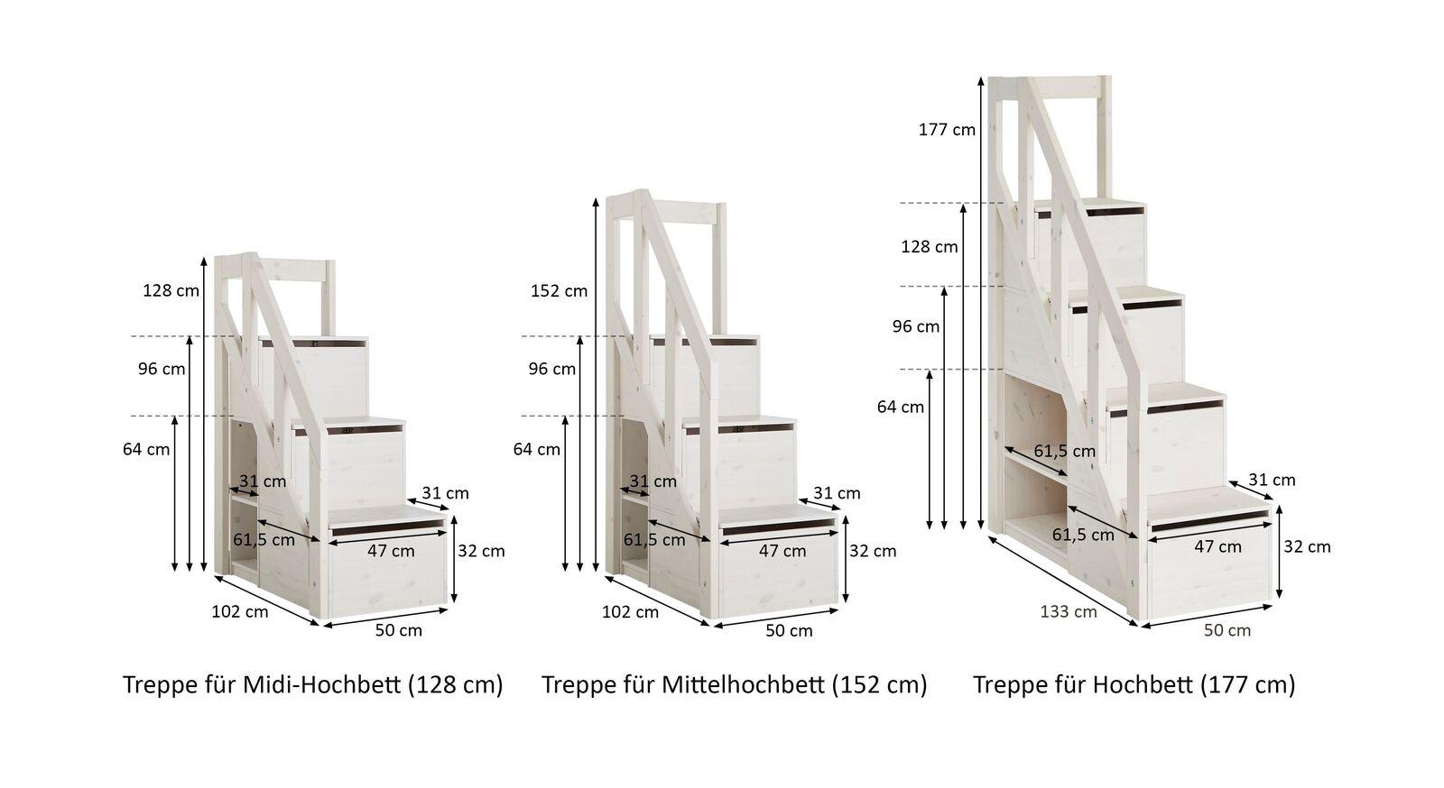 Maßgrafik zum LIFETIME Treppenmodul mit Stauraum