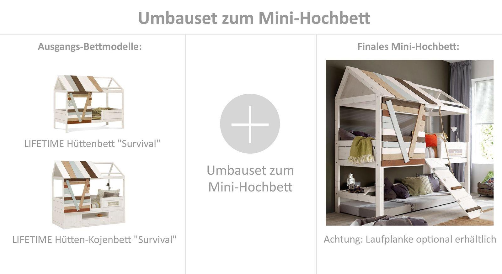 Praktisches LIFETIME Umbauset zum Mini-Hochbett mit Zubehör