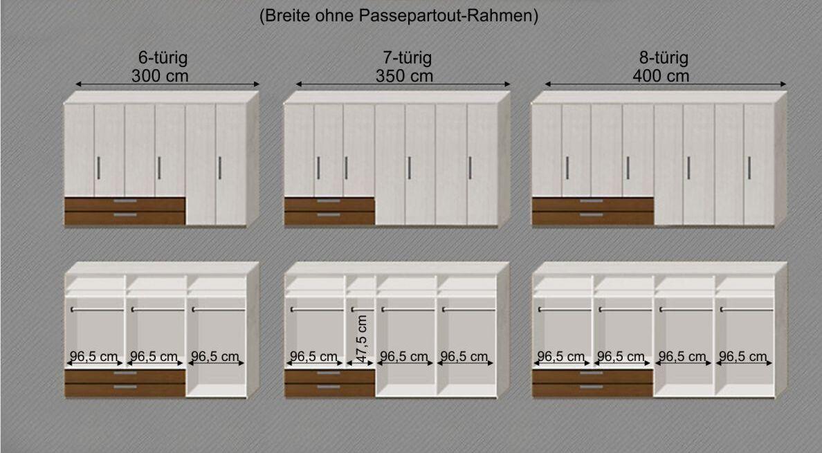 Maßgrafik zur Einteilung des Kleiderschranks Akola