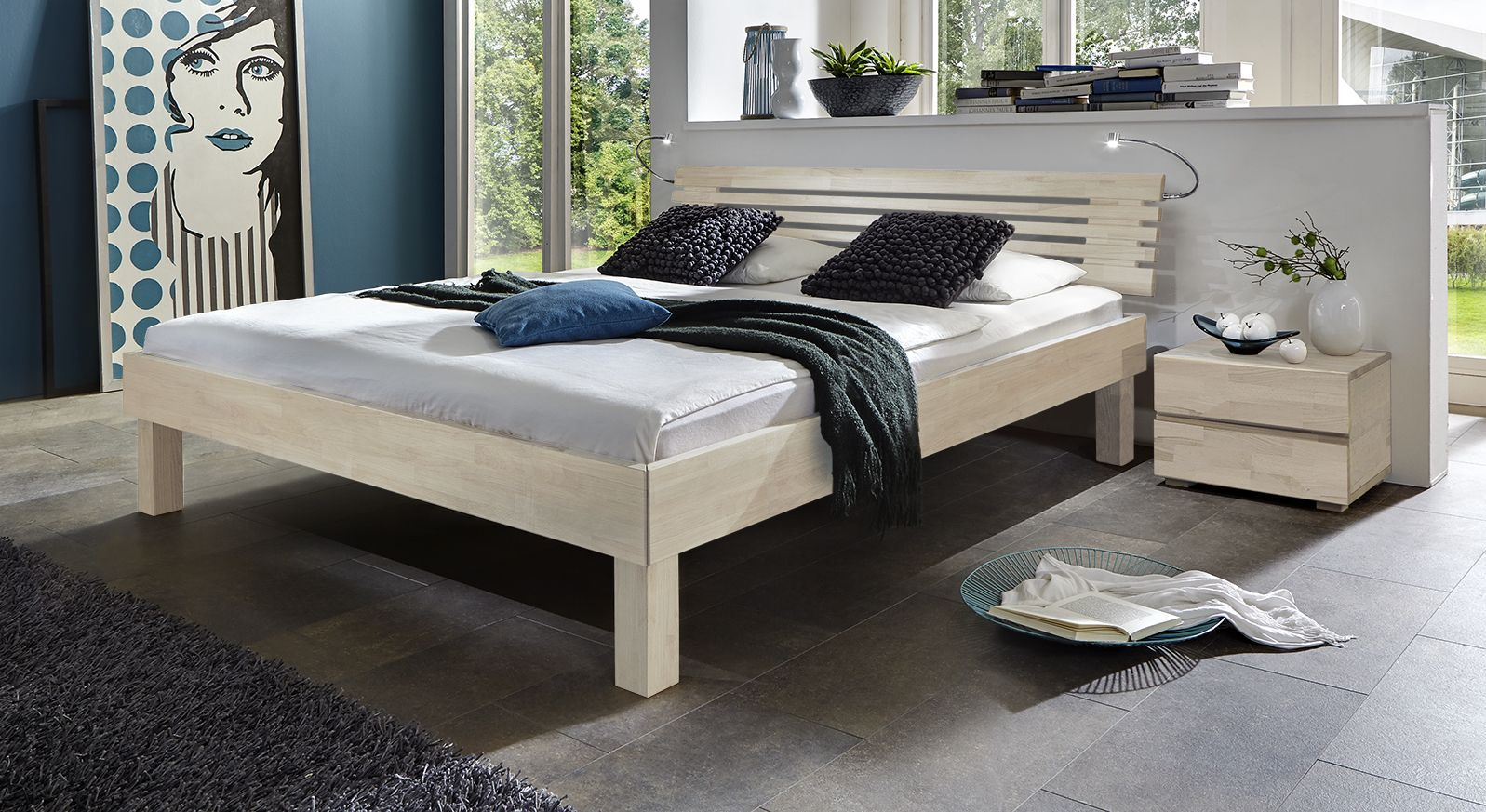 edles doppelbett aus massivholz in buche livenza. Black Bedroom Furniture Sets. Home Design Ideas
