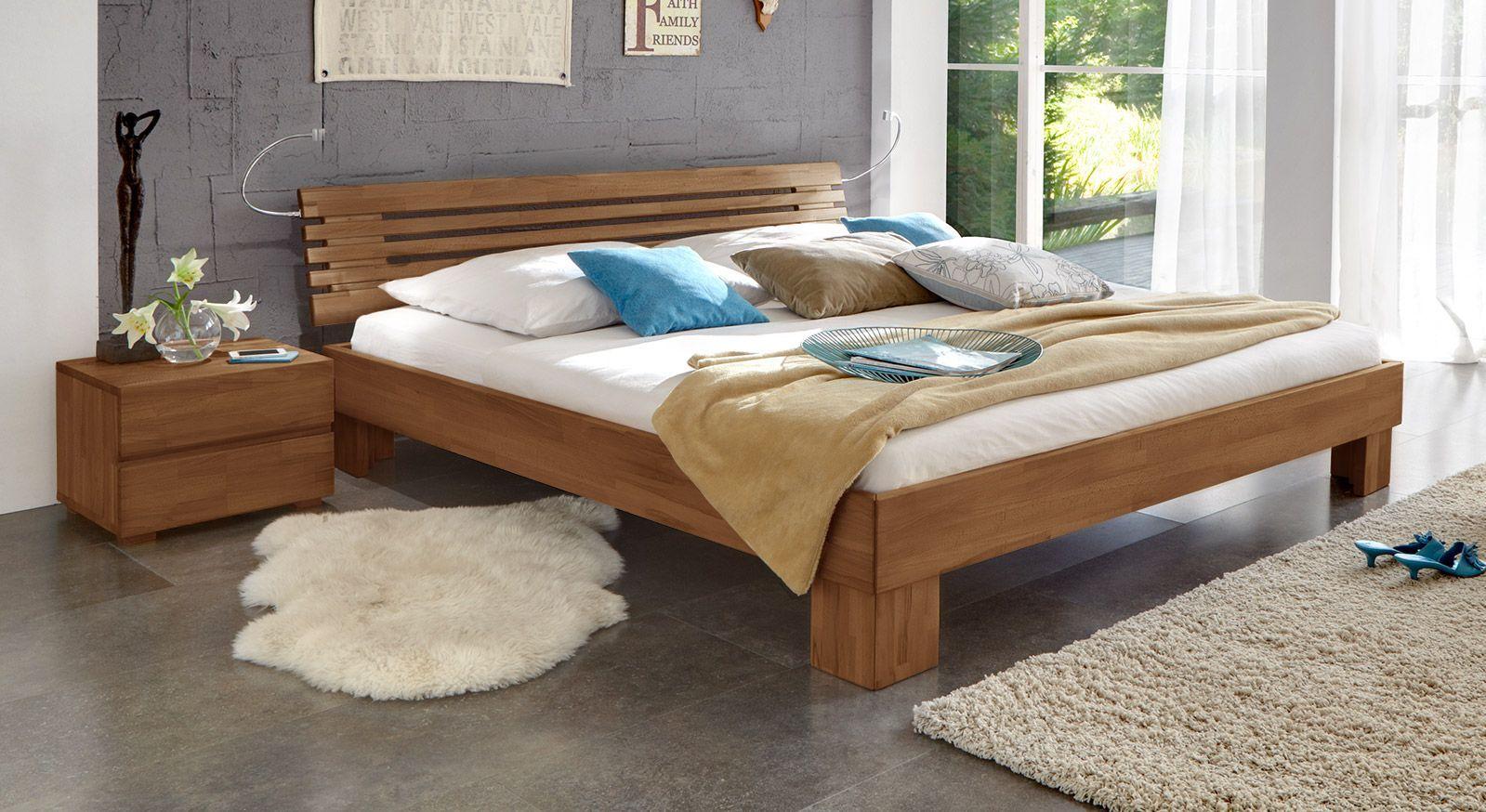 Massivholzbett Wood Romance in 20cm nussbaumfarben