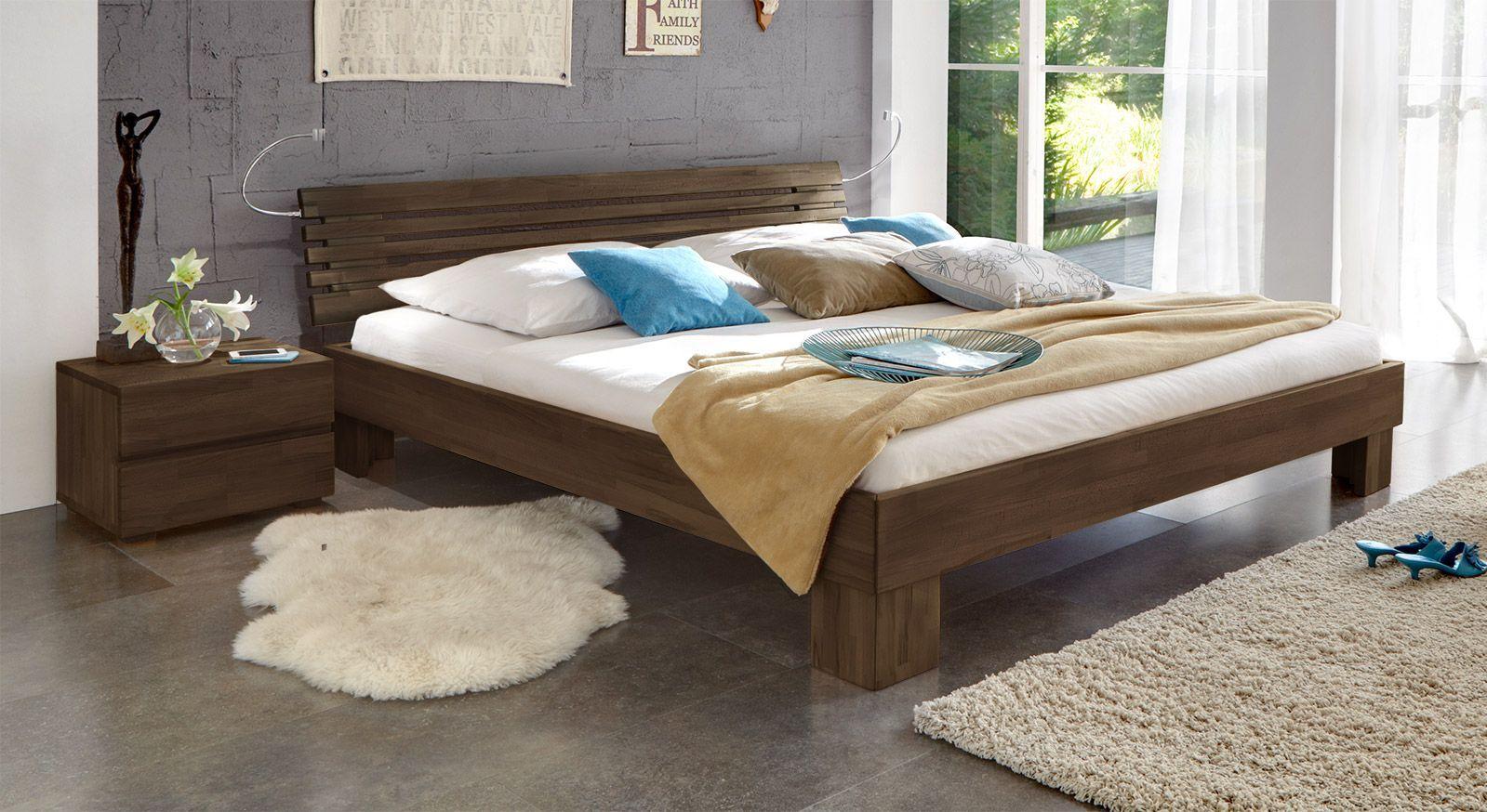 Massivholzbett Wood Romance wengefarben 20cm