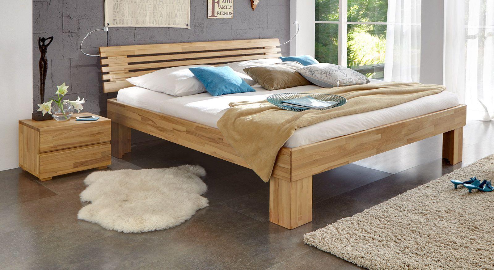 Massivholzbett Wood Romance in Kernbuche 30cm