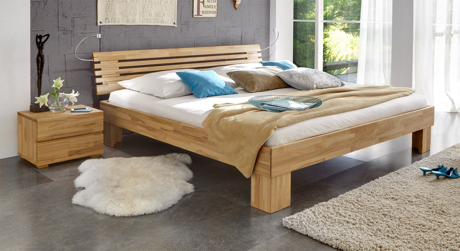 Massivholzbett Wood Romance in Kernbuche 25cm