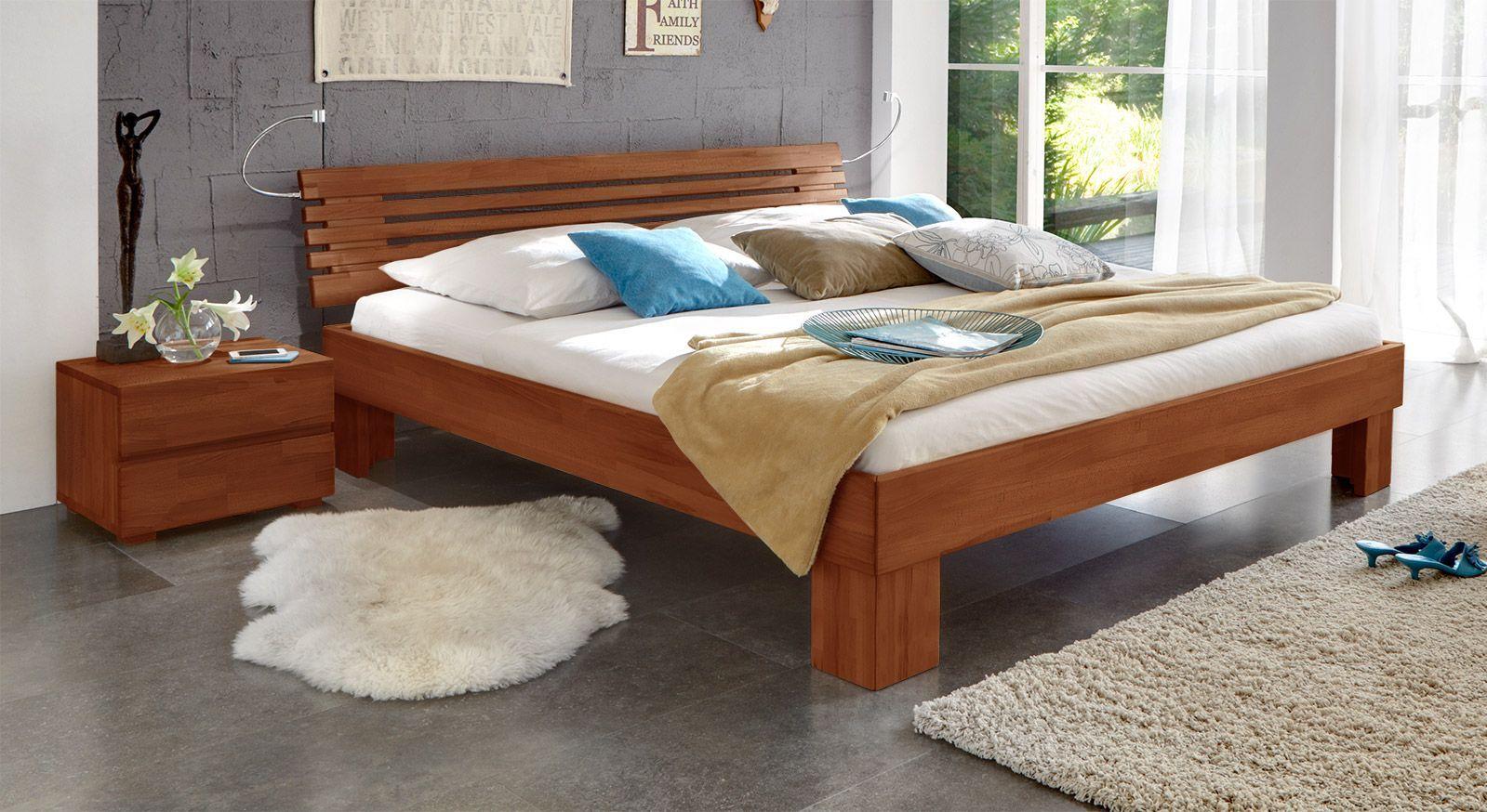 Massivholzbett Wood Romance kirschbaumfarben 25cm