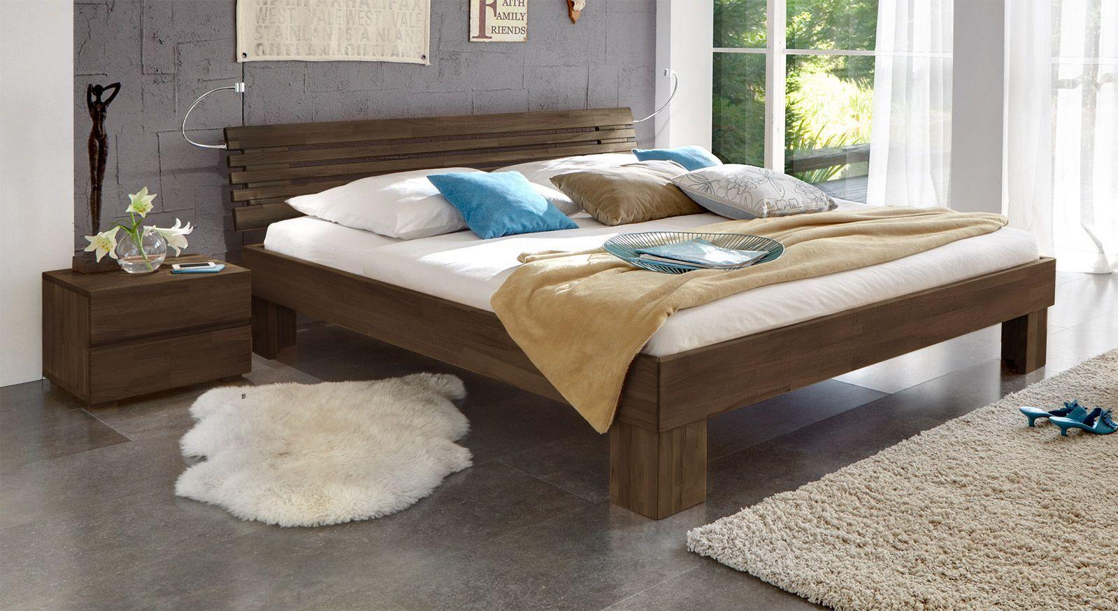 Massivholzbett Wood Romance wengefarben 25cm