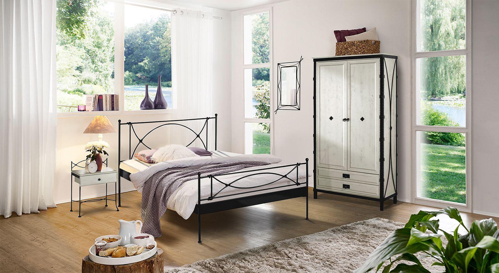 Schlafzimmer im Komplettangebot mit Metallbett - Ordino