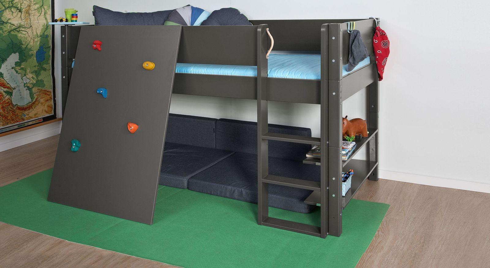 Mini-Hochbett Kids Town Color mit Kletterwand aus anthrazitfarbenem MDF