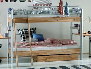 Etagenbett Mit Schrank : Kinderzimmer mit hochbett und schrank aus kernbuche lorena