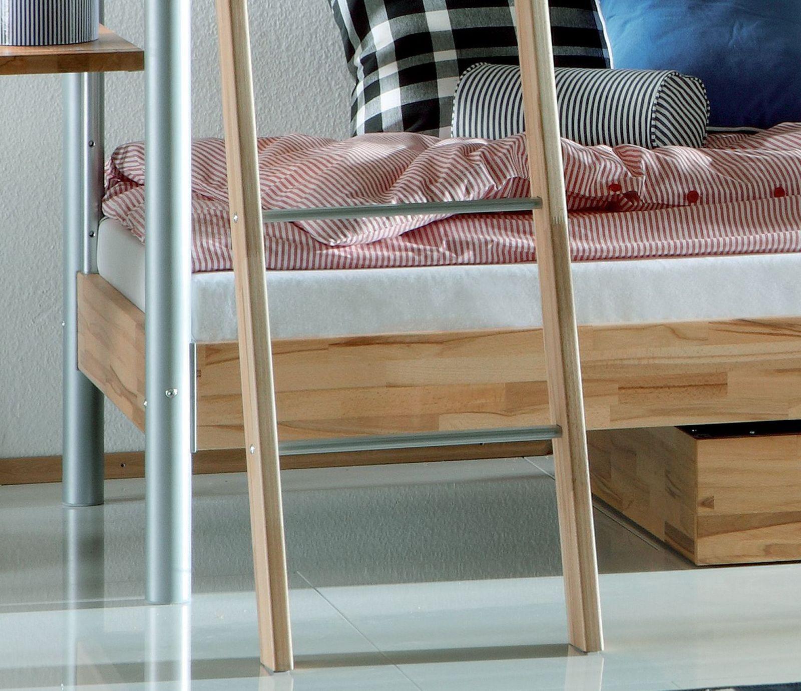 halbhohes etagenbett aus metall und massivholz kernbuche lorena. Black Bedroom Furniture Sets. Home Design Ideas
