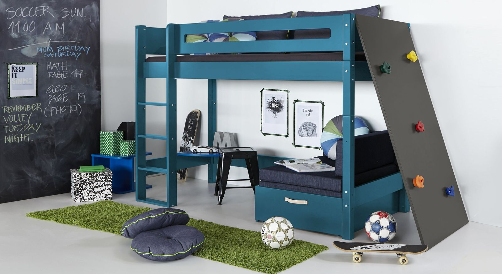 Stabiles Midi-Hochbett Kids Town Color mit Kletterwand in Anthrazit
