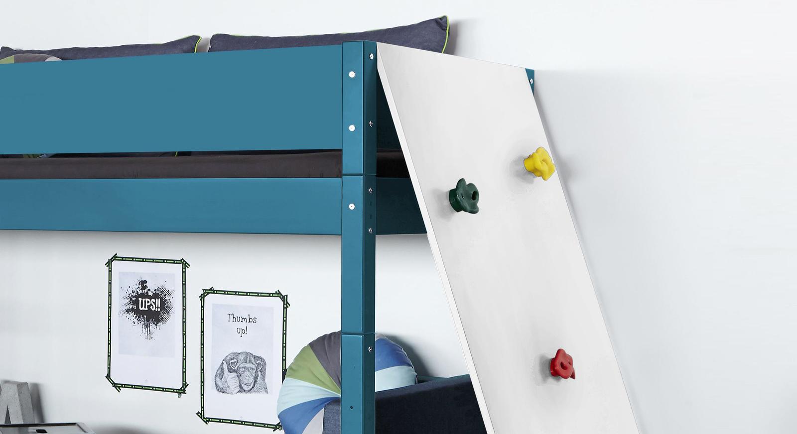 Midi-Hochbett Kids Town Color mit Kletterwand ideal fürs Kinderzimmer