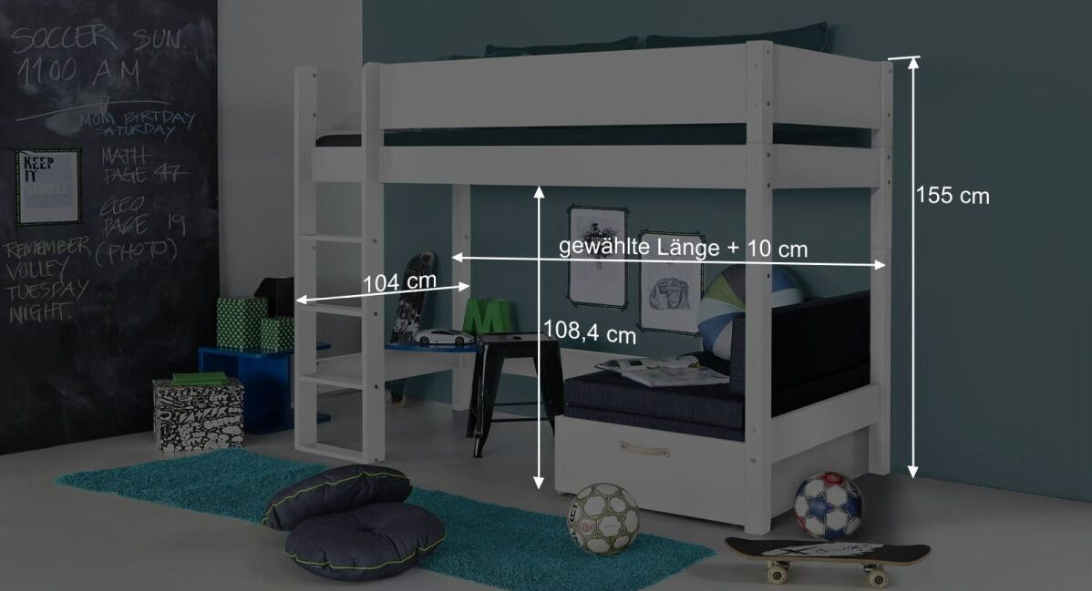 Bemaßungs-Grafik zum Midi-Hochbett Kids Town in Weiß