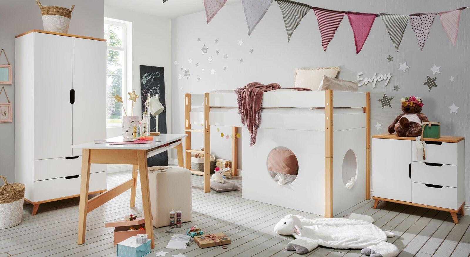 Mini-Hochbett Kids Nordic Grils mit passenden Beimöbeln