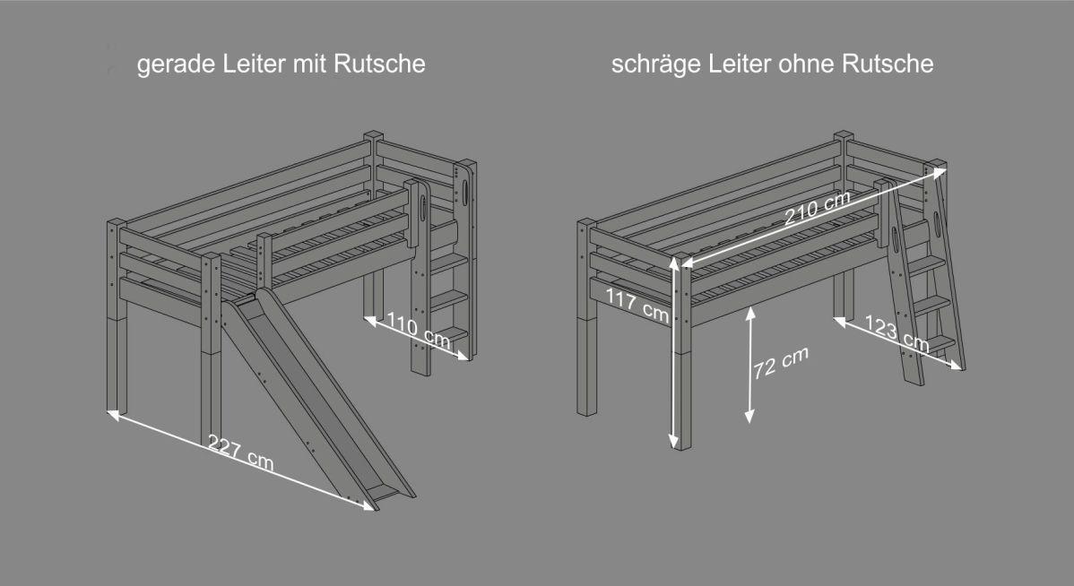 Hochbett Leiter Schräg : Paidi varietta hochbett mit gerader leiter höhe cm sypad