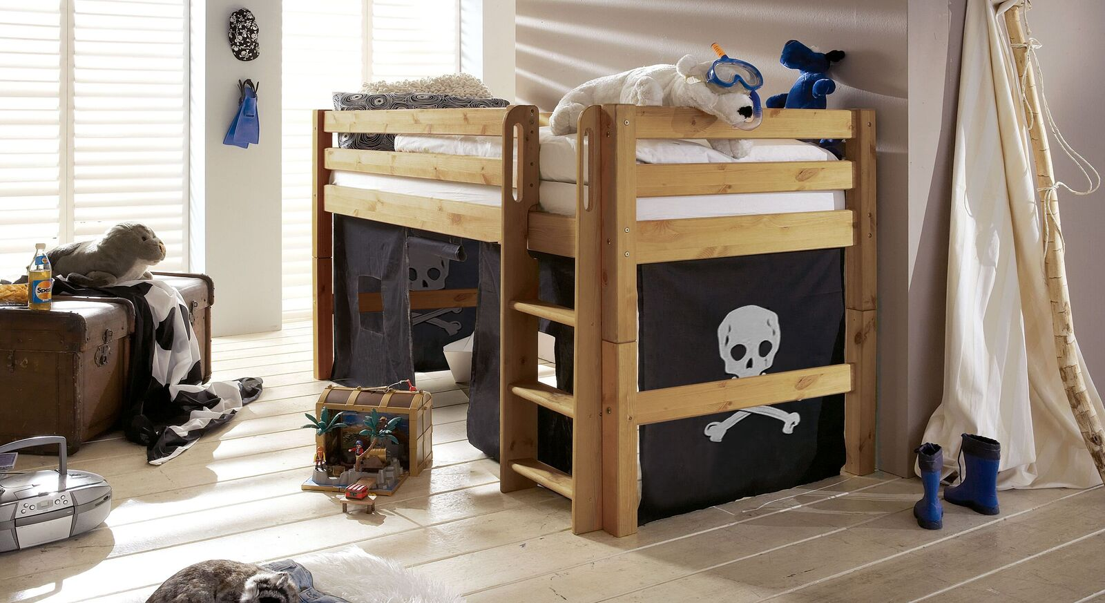 Mini-Hochbett Kids Paradise aus gelaugter Kiefer