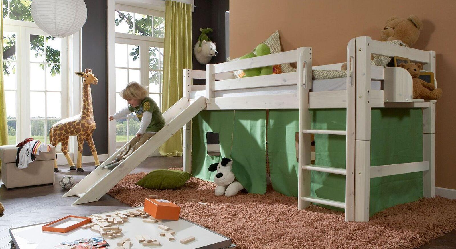 Mini-Hochbett Kids Paradise aus weiß lasierter Kiefer