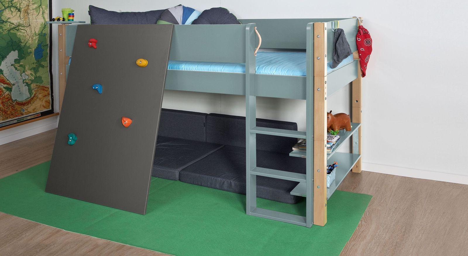 Mini-Hochbett Kids Town Color mit Buchepfosten und anthrazitfarbener Kletterwand