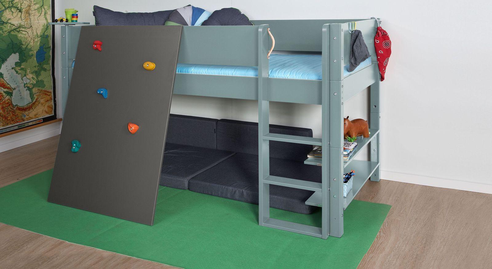 Sicheres Mini-Hochbett Kids Town Color mit anthrazitfarbener Kletterwand