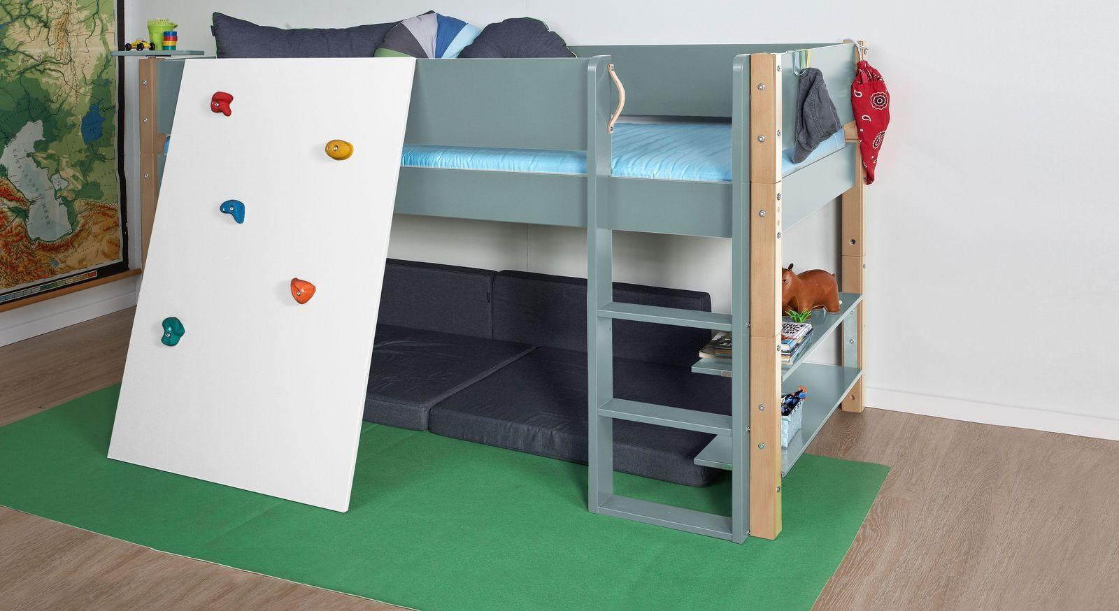 Blaugraues Mini-Hochbett Kids Town Color mit Kletterwand und Buchenpfosten