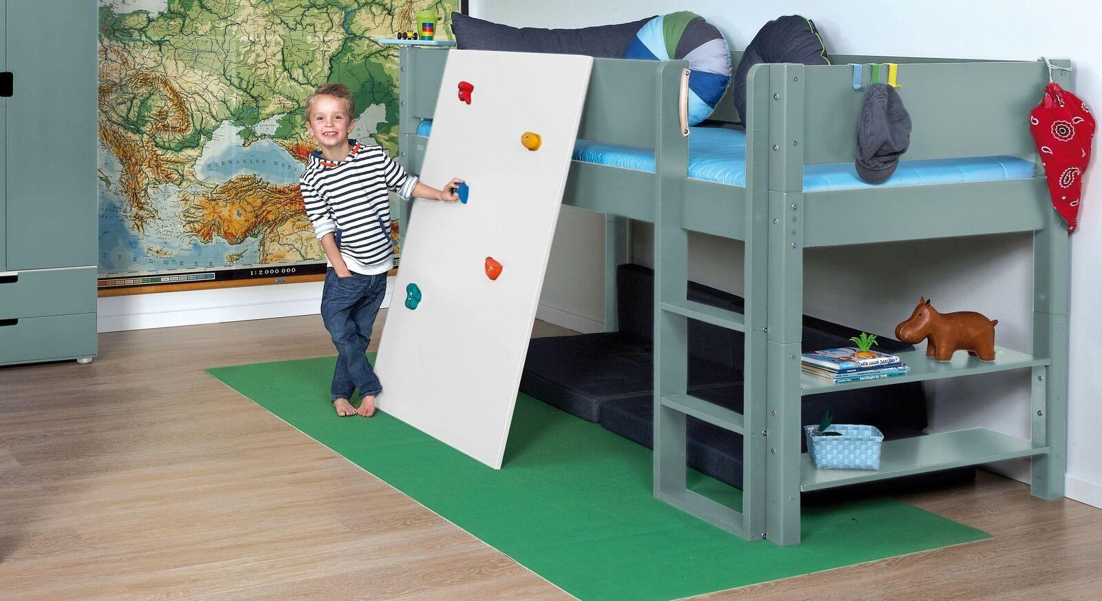 Mini-Hochbett Kids Town Color mit Kletterwand in der Liegefläche 90x200cm