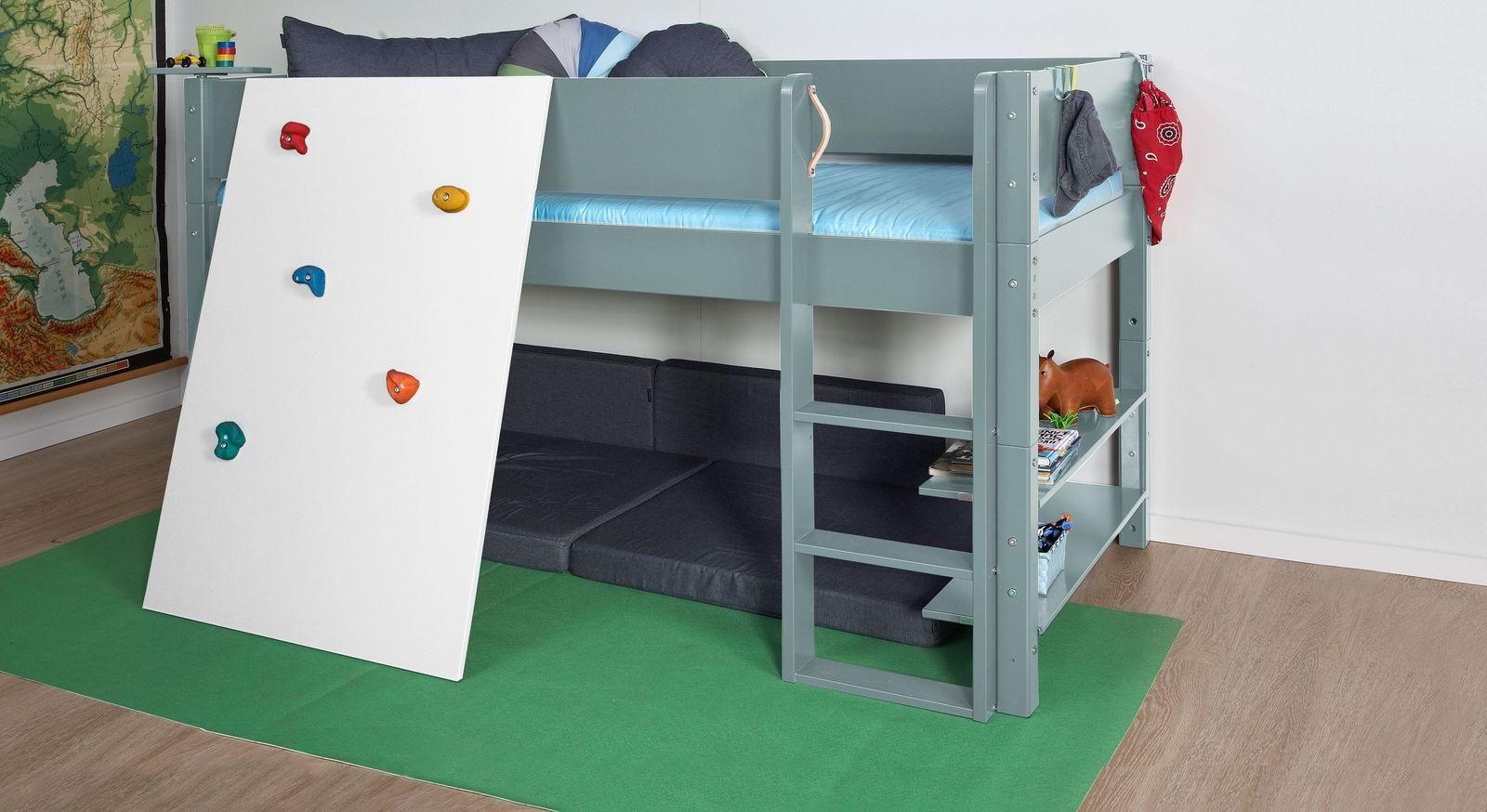Stabiles Mini-Hochbett Kids Town Color mit weißer Kletterwand