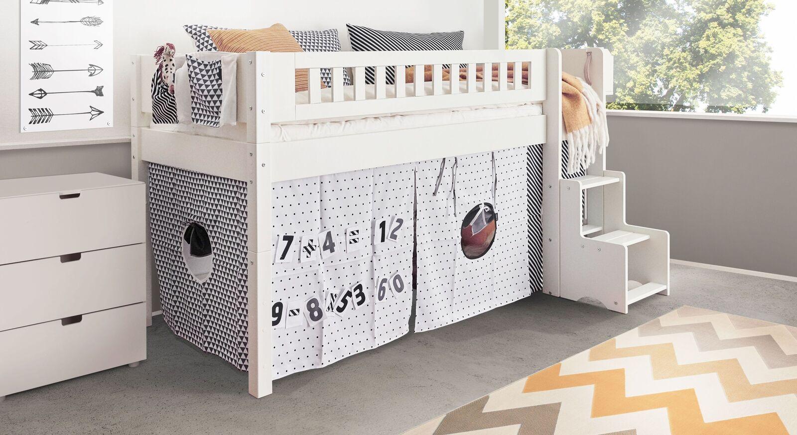 Mini-Hochbett Kids Town Design mit passenden Beimöbeln