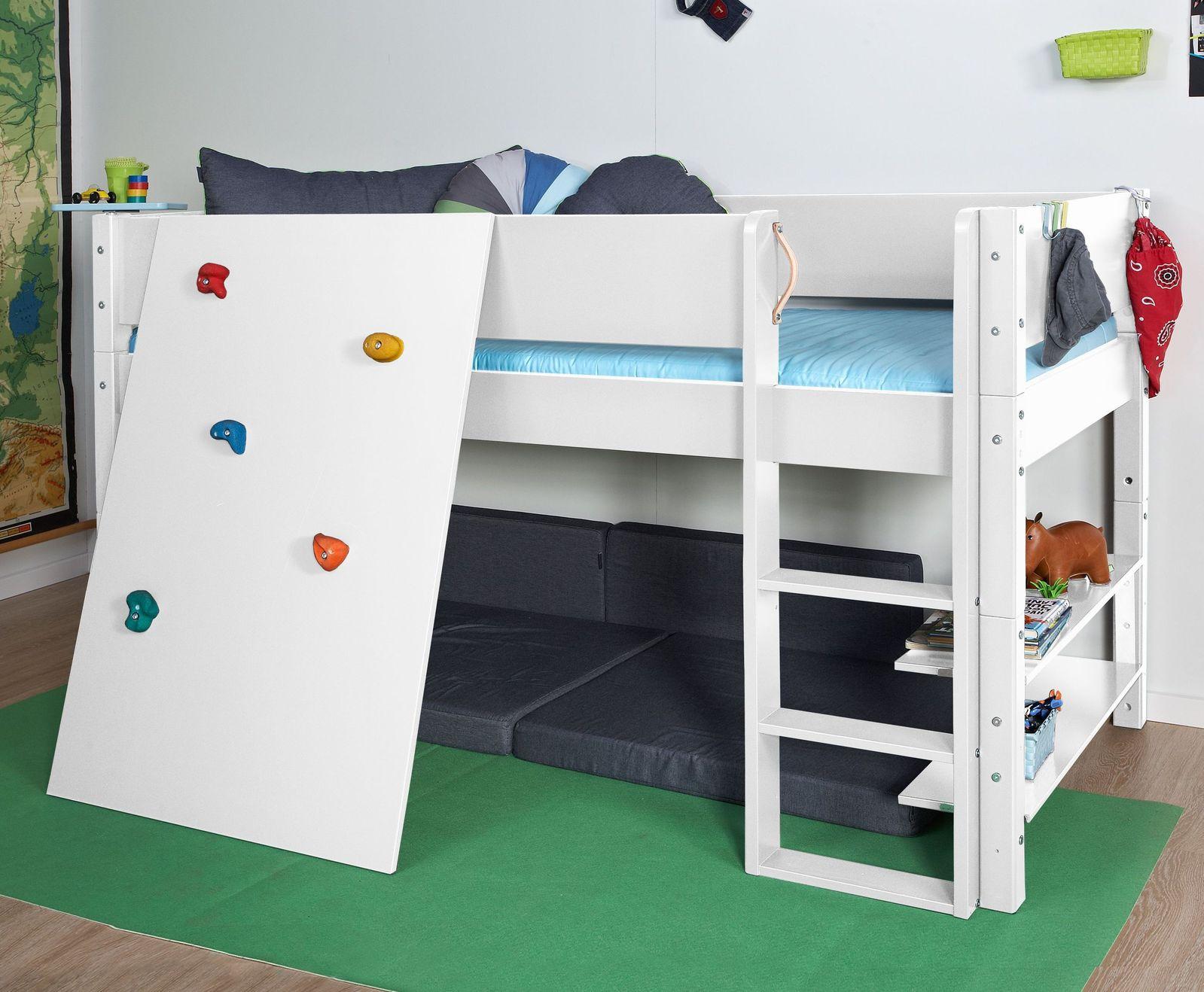 Niedriges Etagenbett : Niedriges hochbett z b in weiß mit kletterwand kids town