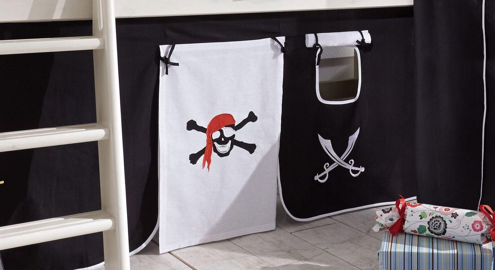 Mini-Hochbett Seeräuber mit Piratenmotiven auf dem Vorhang