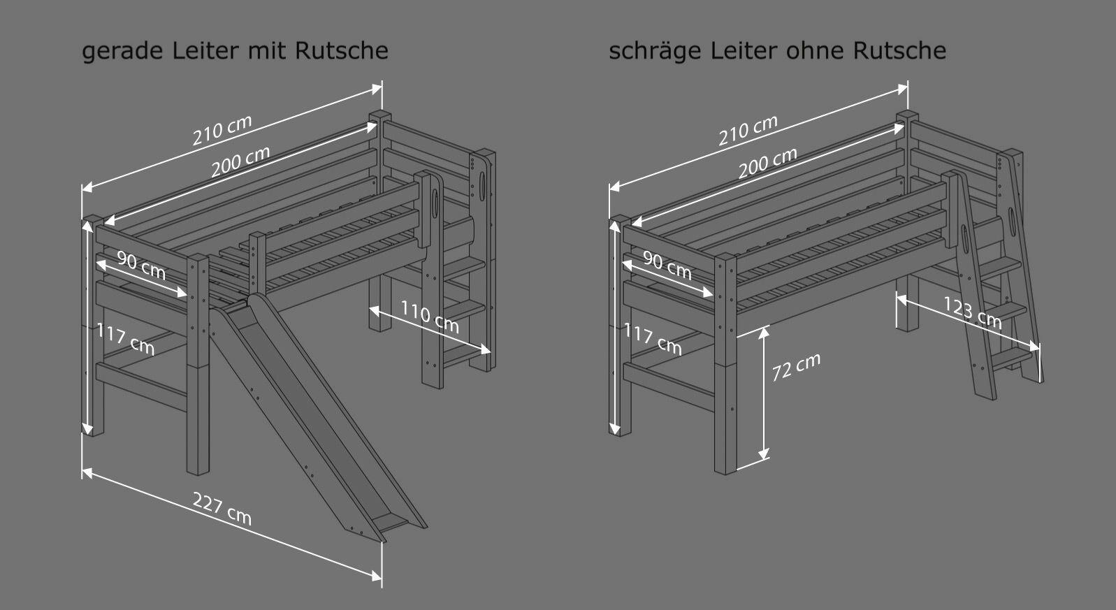Bemaßungsgrafik zu den Varianten des Mini-Hochbettes