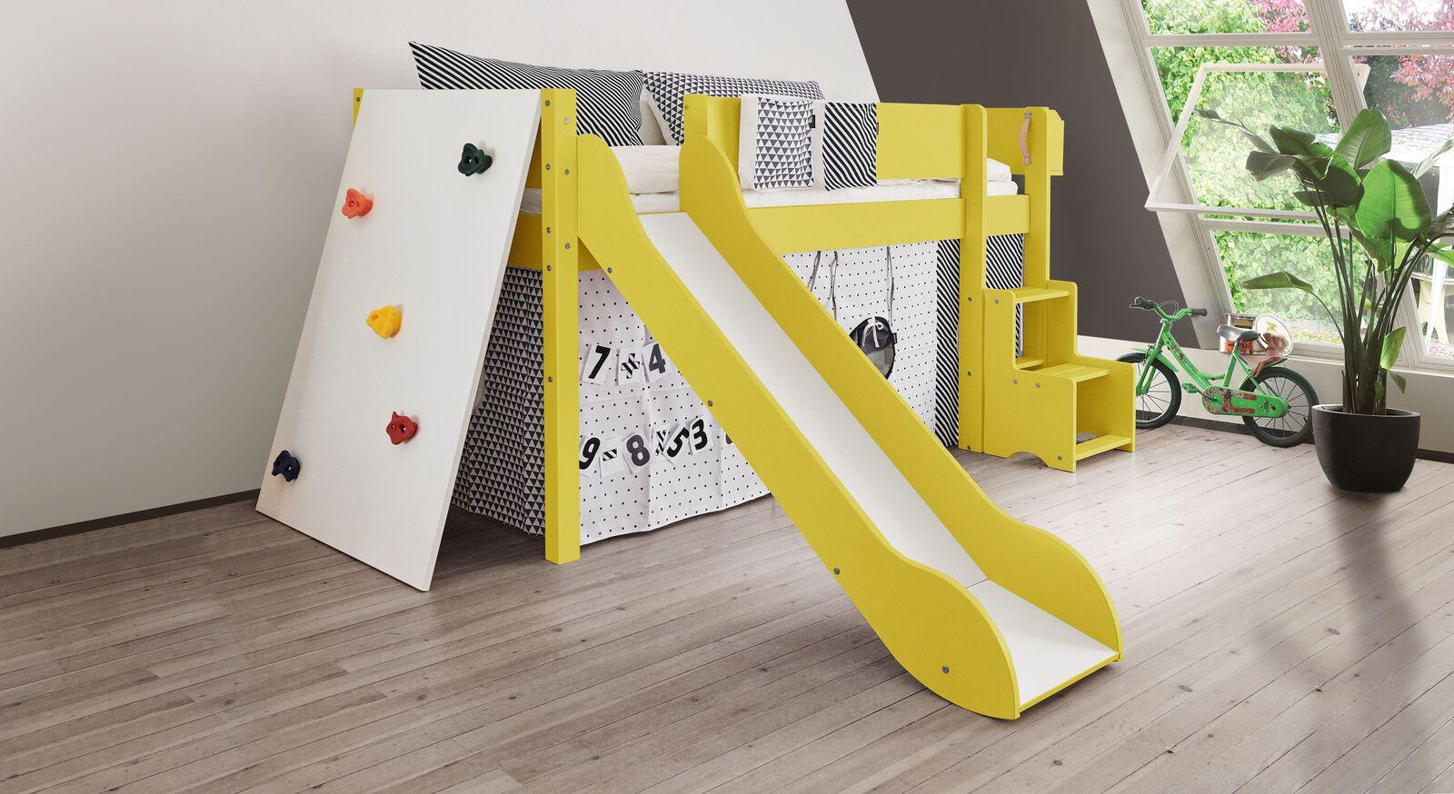 Mini-Rutschen-Hochbett Kids Town Color mit Kletterwand in Gelb