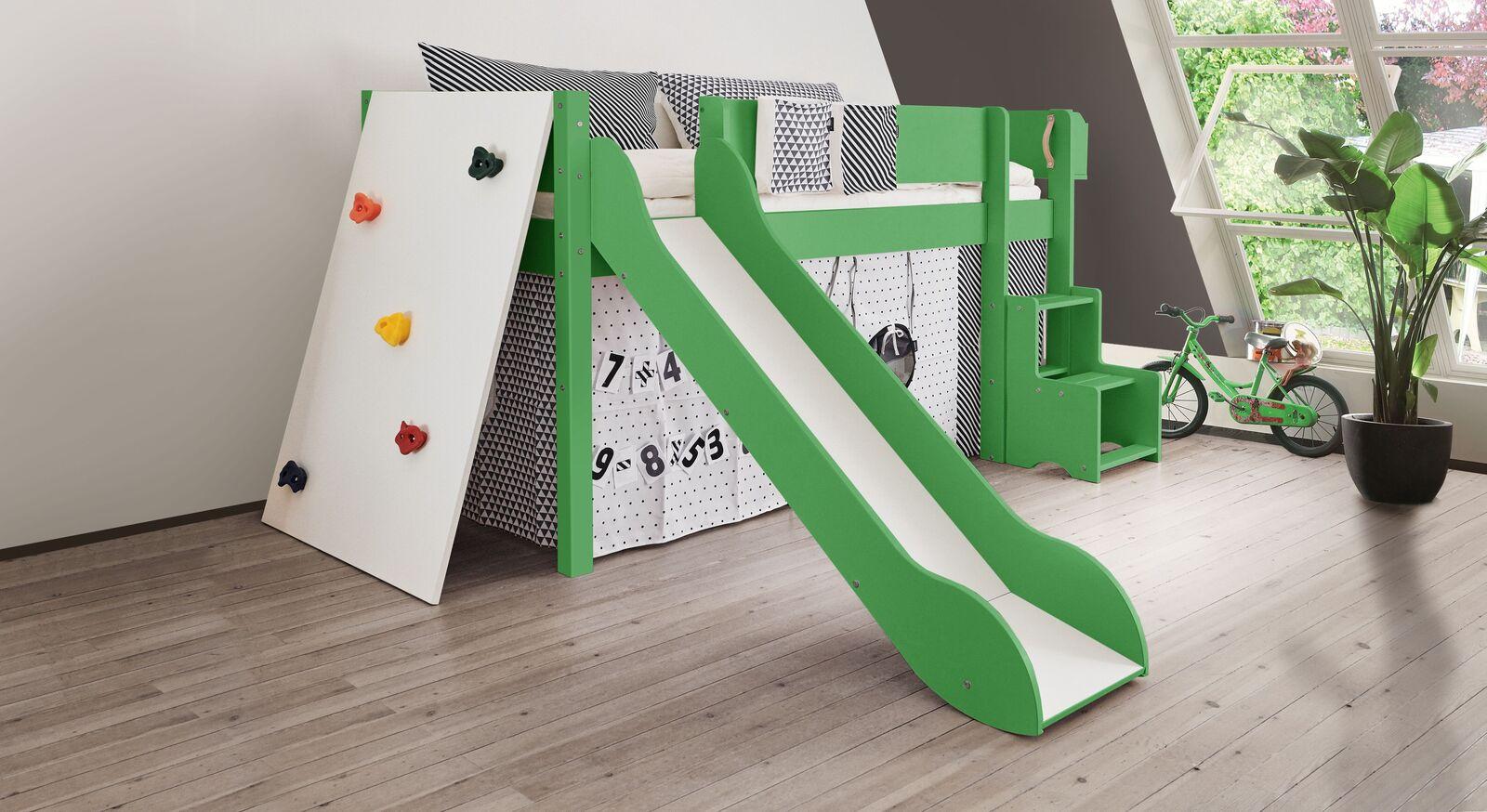 Mini-Rutschen-Hochbett Kids Town Color mit Kletterwand in Grün