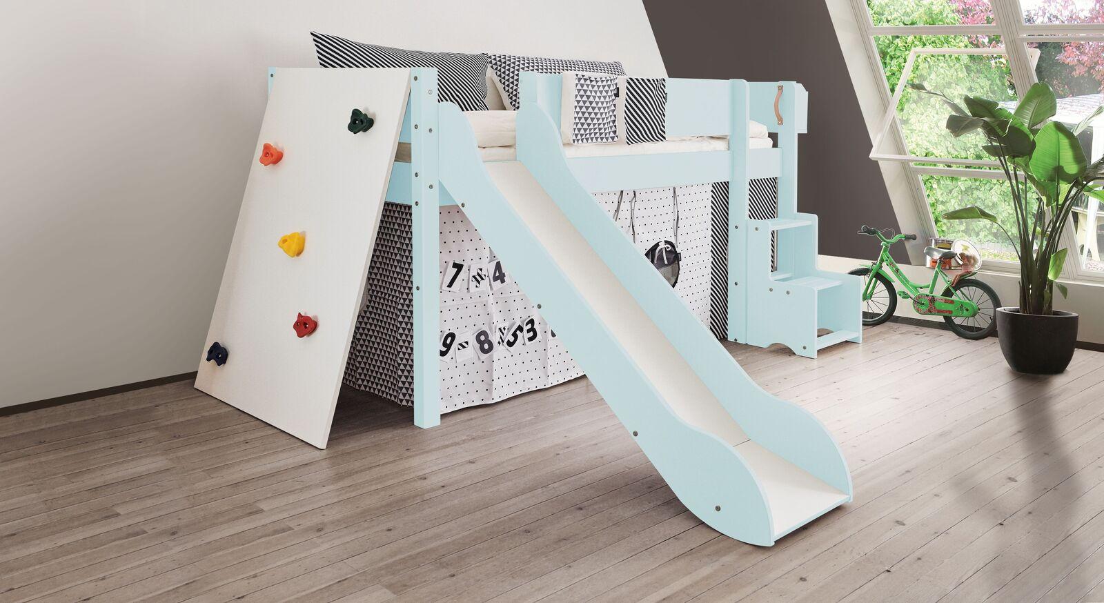 Mini-Rutschen-Hochbett Kids Town Color mit Kletterwand in Hellblau