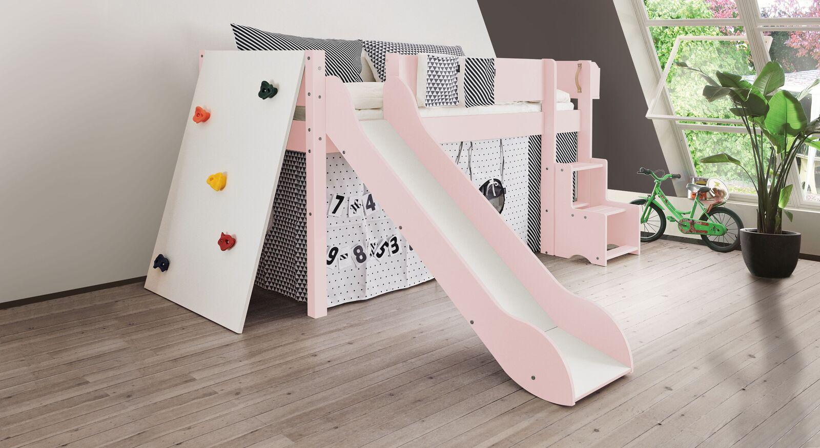 Mini-Rutschen-Hochbett Kids Town Color mit Kletterwand in Hellrosa