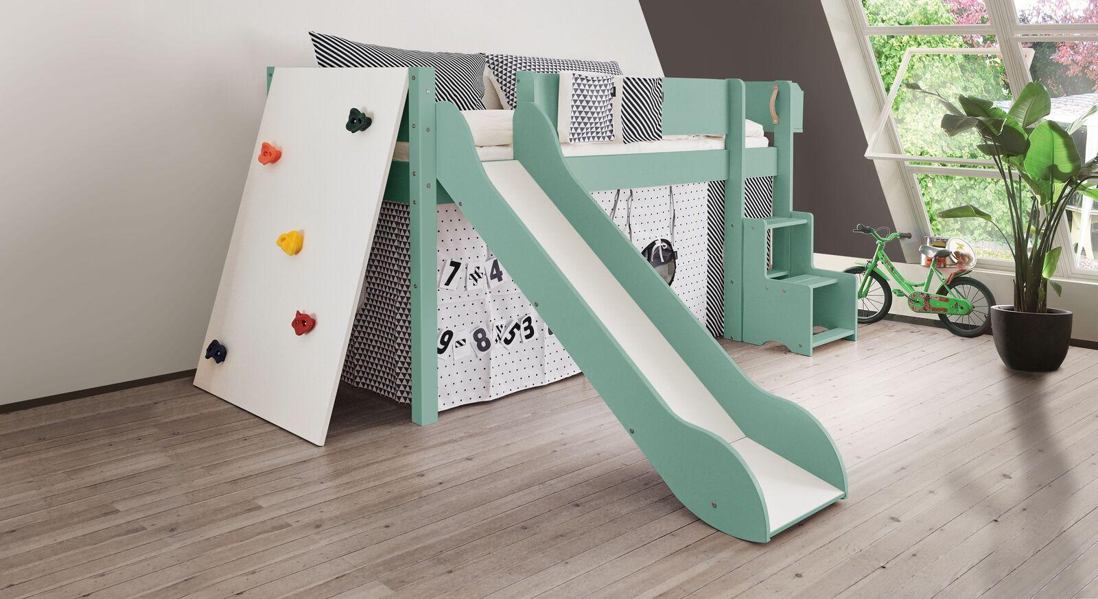 Mini-Rutschen-Hochbett Kids Town Color mit Kletterwand in Mint