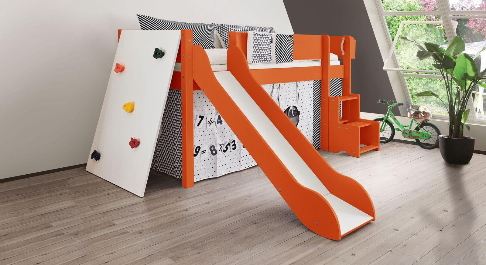 Mini-Rutschen-Hochbett Kids Town Color mit Kletterwand in Orange