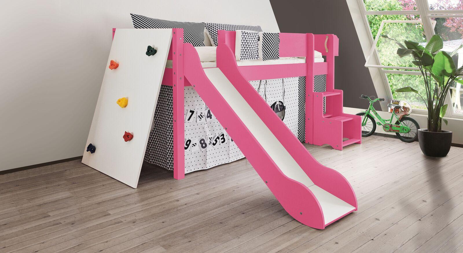 Mini-Rutschen-Hochbett Kids Town Color mit Kletterwand in Pink