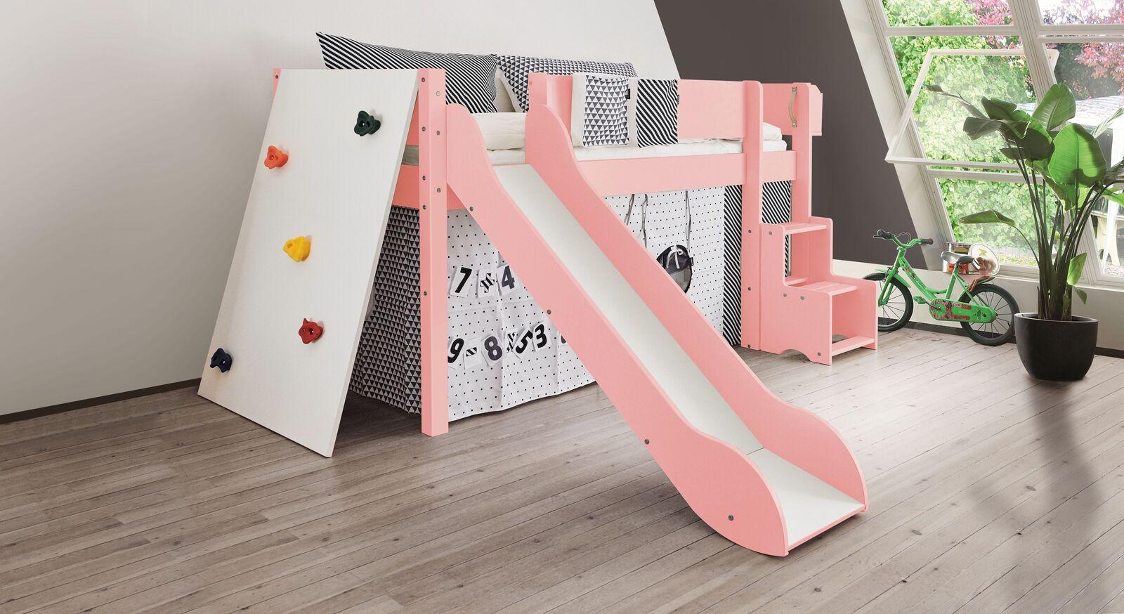 Mini-Rutschen-Hochbett Kids Town Color mit Kletterwand in Rosa