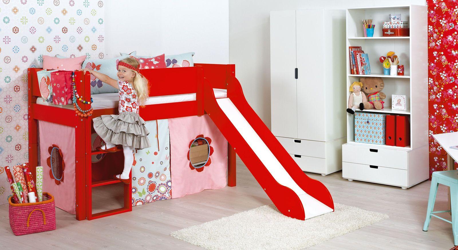 Mini-Rutschen-Hochbett Kids Town Color in Rot als Blickfang